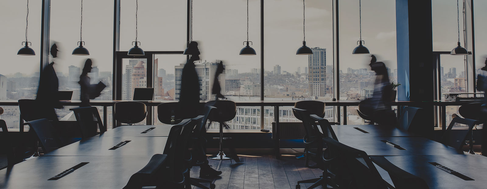 Commercial & Business Transactions Header Background - Office with Staff Walking by Blurred