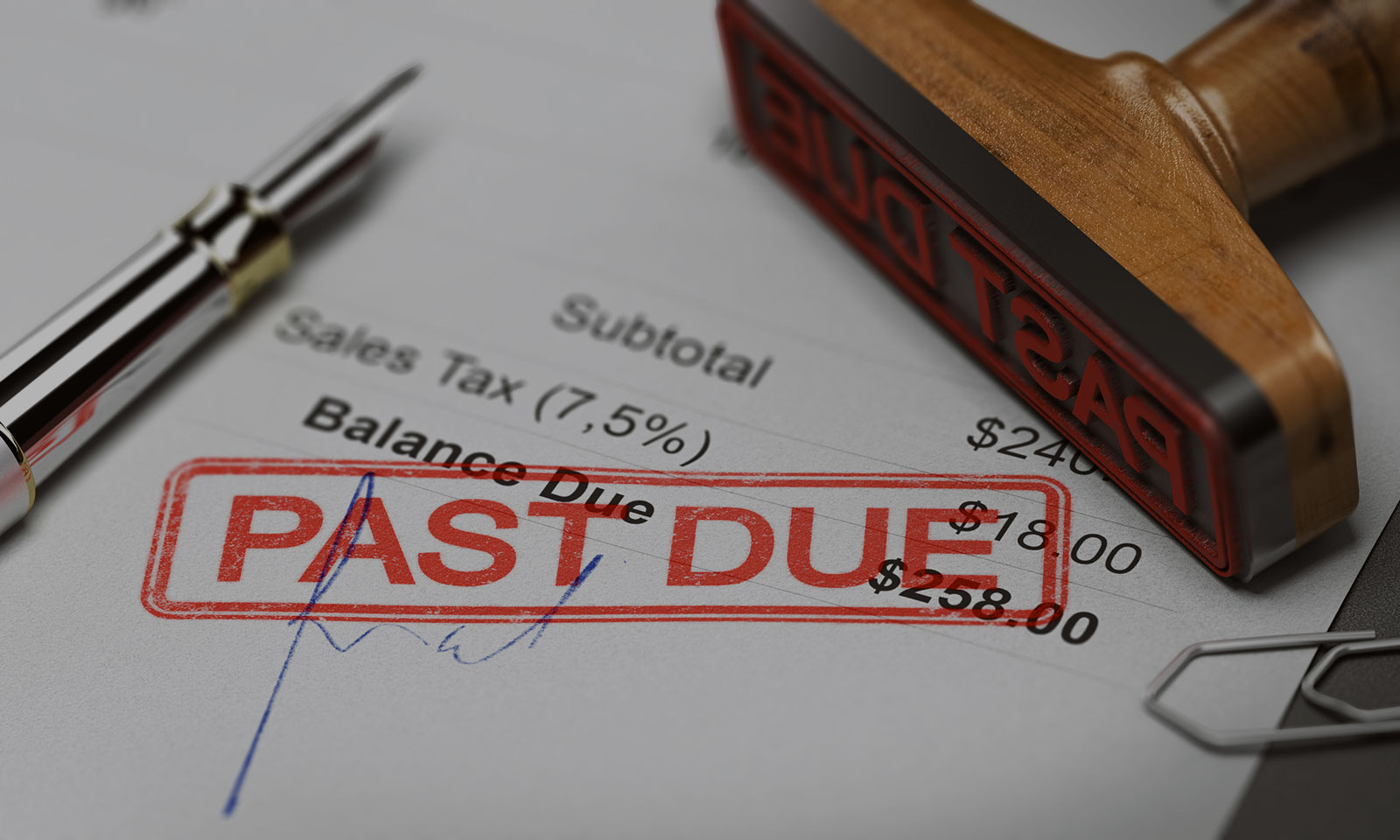 Debt Purchaser Representation Header Background - Past Due Stamp on Paper