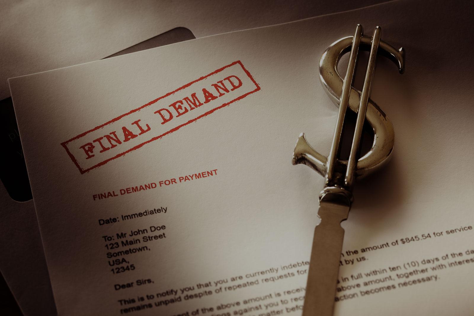 Judgement Enforcement & Collection Header Background - Final Demand Letter with Metal Dollar Sign