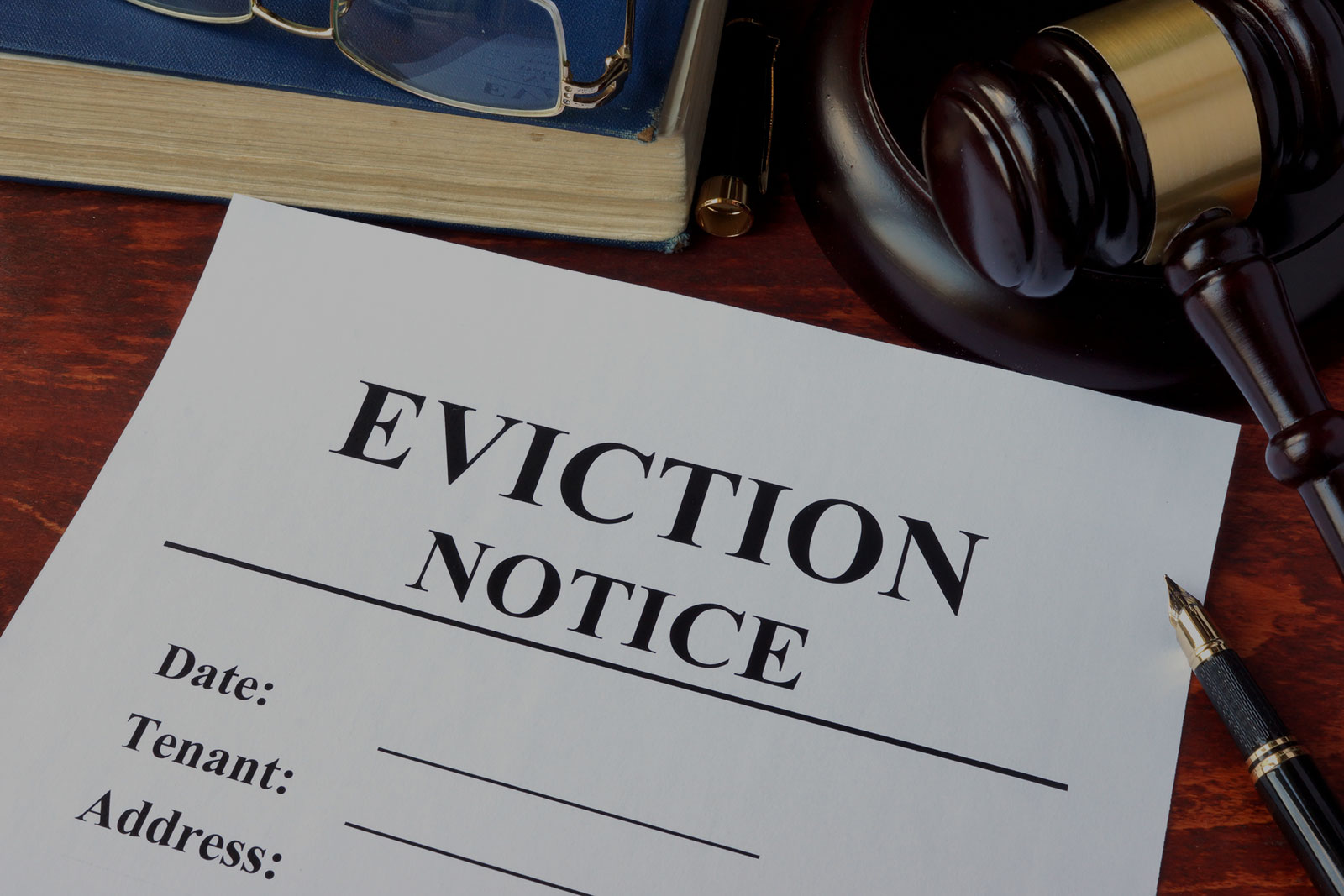 Landlord/Tenant Header Background - Eviction Notice with Judge Mallet