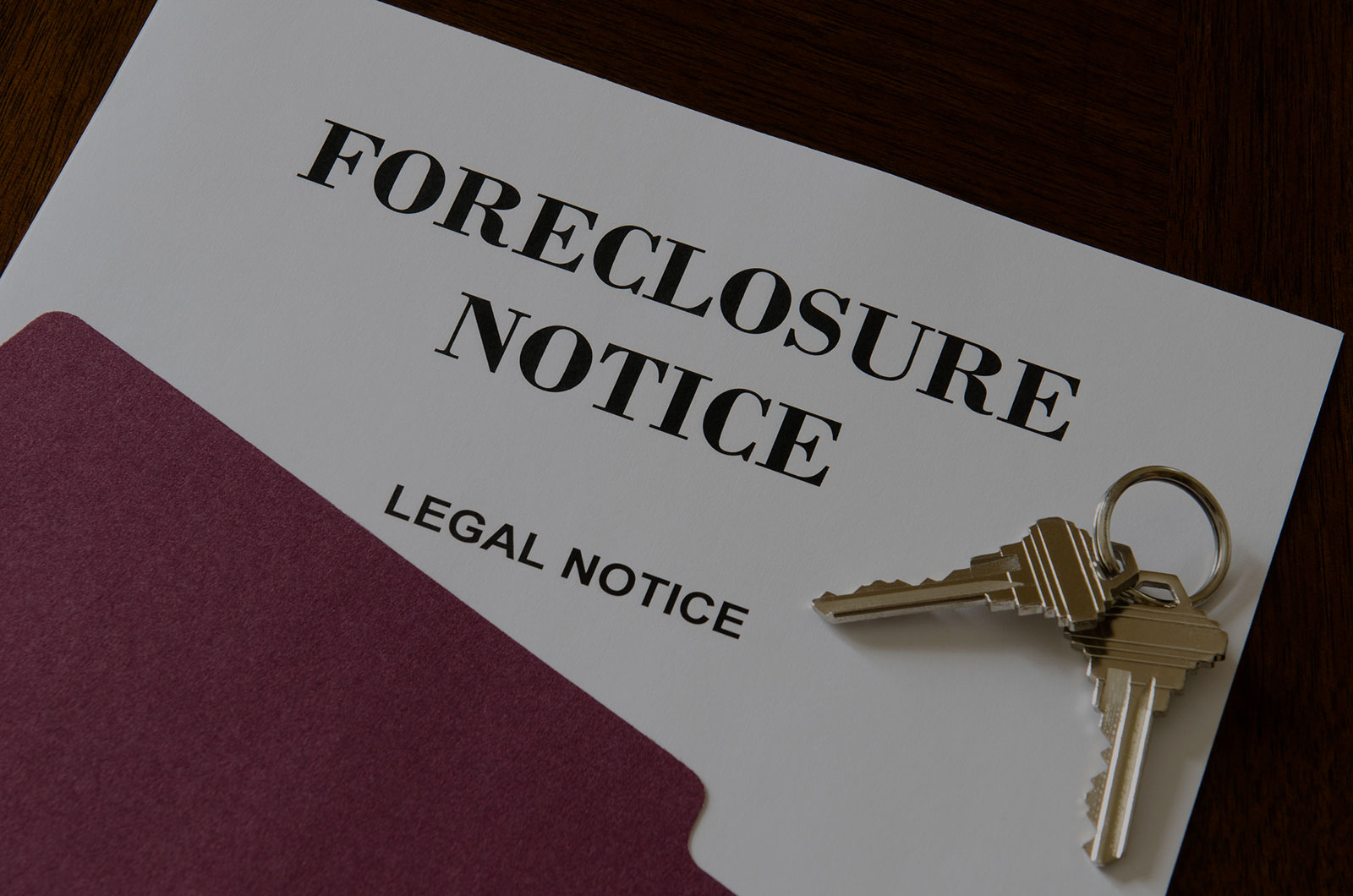 Real Estate Transactions & Litigation Header Background - Foreclosure Notice with Keys on Top