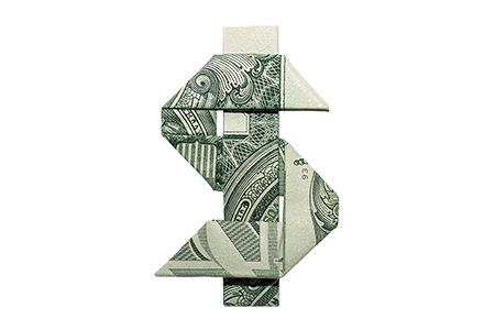 Dollar sign made of dollars